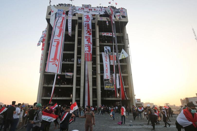 المطعم التركي متظاهرون على جبل أحد وسط بغداد