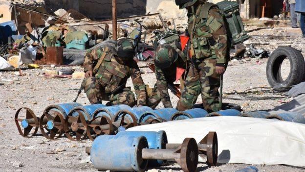 الجيش السوري يتفحص معامل المتفجرات والقذائف التي كانت تطلق على المدنيين في احياء حلب