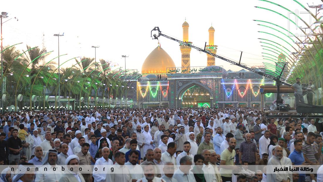صلاة عيد الفطر المبارك بين الحرمين الشريفين بمدينة كربلاء المقدسة