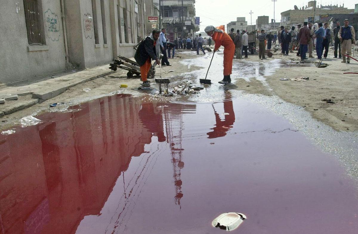 تفجير الحلة 28 فبراير 2005 والذي ادى الى استشهاد 115 مواطن واصابة 148 ونفذه الاردني رائد البنا