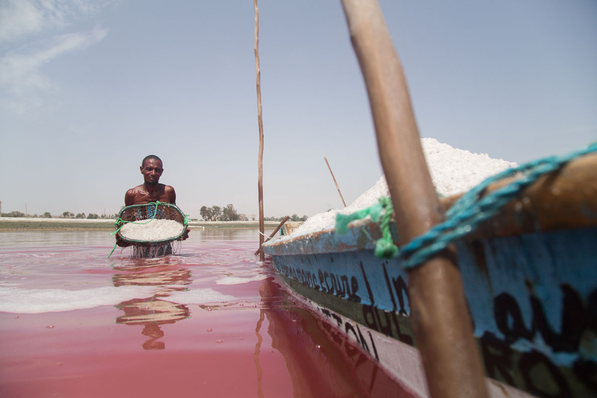 حاصد ملح على قارب للنقل في بحيرة ريتبا، السنغال، في يوليو 2015.