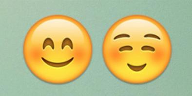 الوجوه  الموجود على اليمين يعني الاسترخاء، والموجود على اليسار يعني الخجل.